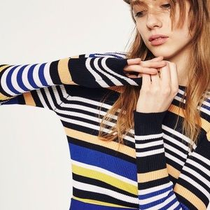 [Zara] Multi Striped Long Sleeve Sweater